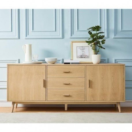 WOODY Buffet bas scandinave placage bois chene massif