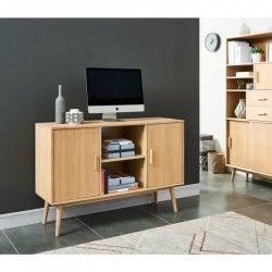 WOODY Buffet bas scandinave placage bois chene massif verni mat - L 120 cm
