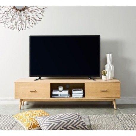 woody meuble tv scandinave placage bois chene massif verni mat l 160 cm ebay. Black Bedroom Furniture Sets. Home Design Ideas