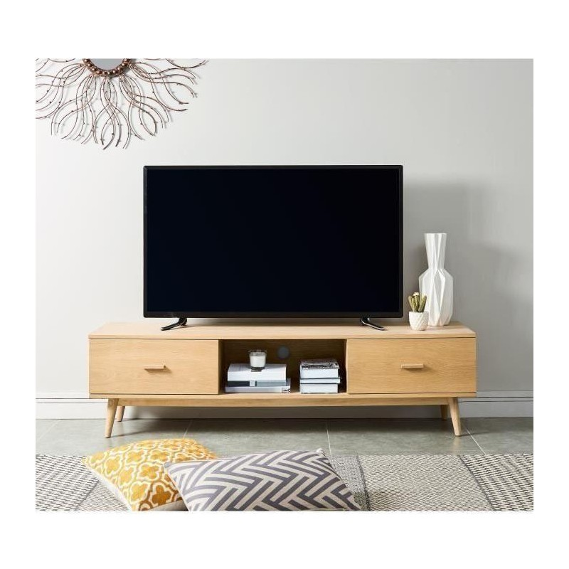 woody meuble tv scandinave placage bois chene massif. Black Bedroom Furniture Sets. Home Design Ideas