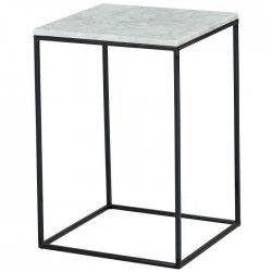 MARBELLA Bout de canapé vintage en marbre + pieds métal laqué noir - L 35 x l 35 cm