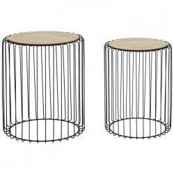 DILMA Lot de 2 tables gigognes style industriel placage bois + pieds métal laqué noir - L 35 x l 35 cm et L 43 x