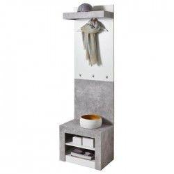 SPICER 2 Set de vestiaire contemporain gris béton et blanc - L 60