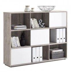 FUTURA Bibliotheque style contemporain mélaminée décor gris effet béton et blanc brillant - L 145 cm