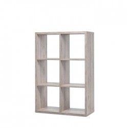 MAX Etagere avec 6 cubes - Style contemporain - Décor chene sorrento - L 73 cm