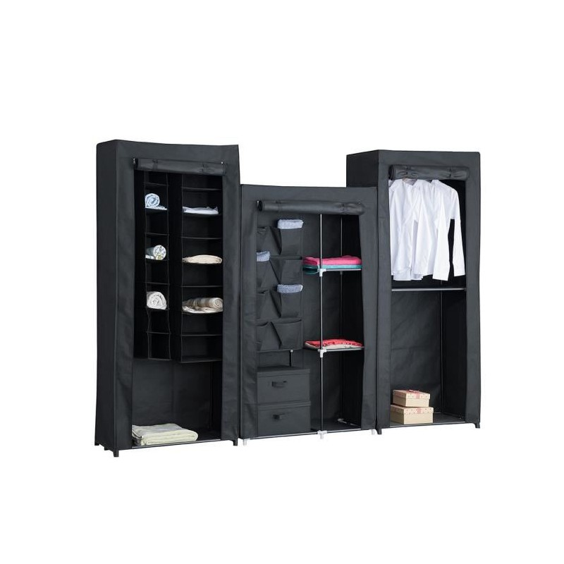 armoire penderie souple nomade 06 en tissu noir 242x45x180 cm. Black Bedroom Furniture Sets. Home Design Ideas