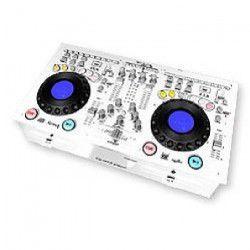 IBIZA SOUND FULL-STATION-WH Console de mixage professionnelle avec double lecteur cd-mp3 et controleur usb / sd