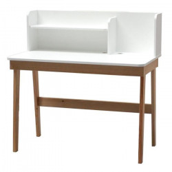 OSLO Bureau contemporain laqué blanc et bois pin verni naturel + pieds bois pin massif - L 105 cm