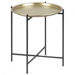 OSBORN Table basse ronde ethnique en métal coloris laiton + pieds en métal laqué noir - L 40 x l 41 cm
