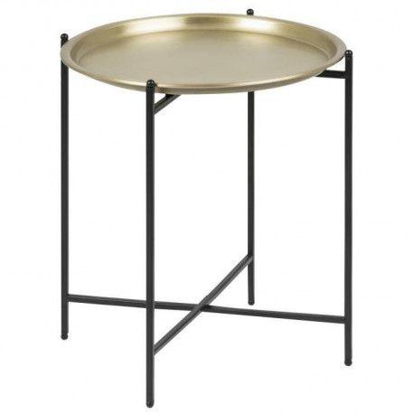 le dernier 952a1 aa609 OSBORN Table basse ronde ethnique en métal coloris laiton + pieds en métal  laqué noir - L 40 x l 41 cm