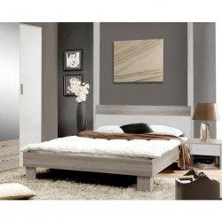 HELEN Lit adulte contemporain chene sonoma gris et blanc brillant - l 140 x L 190 cm