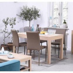 NANO Table a manger de 4 a 6 personnes style contemporain placage bois chene verni - L 140 x l 80 cm