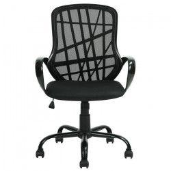DESERTO Fauteuil de bureau - Tissu maille noir - Style contemporain - L 61 x P 63 cm