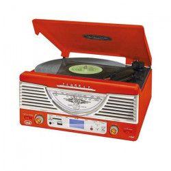 TREVI TT-1062E Platine Vinyle - 33 et 45 tours - Rouge
