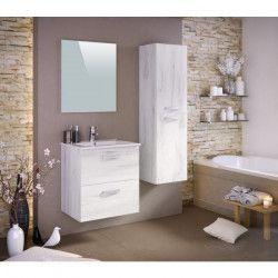 STELLA Ensemble salle de bain simple vasque L 60 cm - Décor bois blanchi