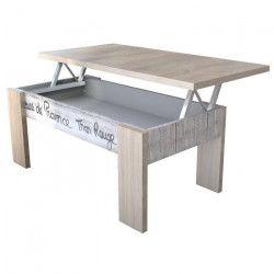 ALPHA Table basse relevable style contemporain décor chene, blanc mat et sérigraphie - L 50 x l 100 cm
