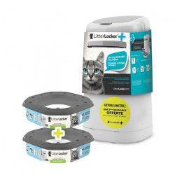 LITTER LOCKER Plus Poubelle de litiere avec 2 recharges offertes - Blanc et gris - Pour chat