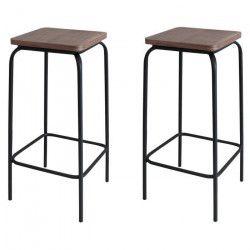 DOCKS Lot de 2 tabourets de bar - MDF décor bois + pieds en métal noir - Style industriel - L 28 x P 28 cm