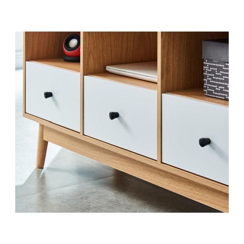 happy meuble tv scandinave m lamin d cor chene et. Black Bedroom Furniture Sets. Home Design Ideas