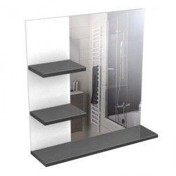 CORAIL Meuble miroir de salle de bain 60 cm - Gris Haute Brillance