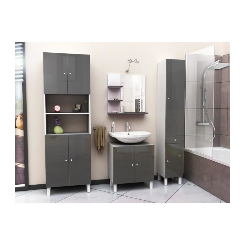 corail meuble miroir de salle de bain l 60 cm gris. Black Bedroom Furniture Sets. Home Design Ideas