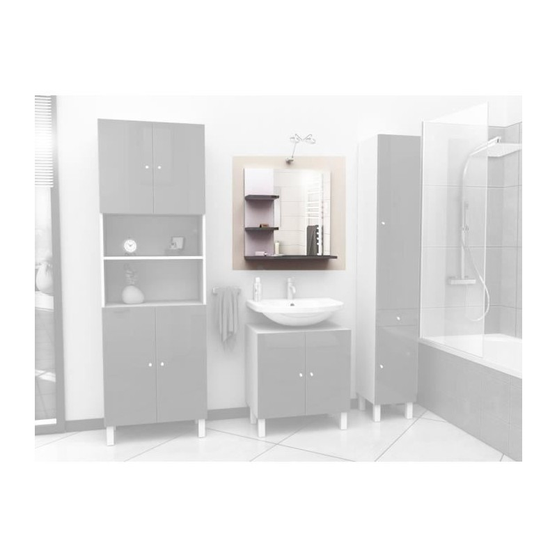 Corail meuble miroir de salle de bain l 60 cm gris for Meuble salle de bain en 60 cm