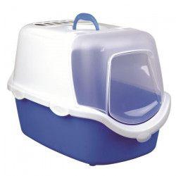 TRIXIE Maison de toilettes pour chat Vico Easy Clean - Bleu et blanc