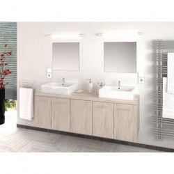 JENNY Salle de bain complete double vasque L 150 cm avec miroir - Décor chene SanRemo