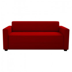 FIRR Canapé droit convertible 3 places - Simili - Rouge - Contemporain - L 166 x P 81 cm