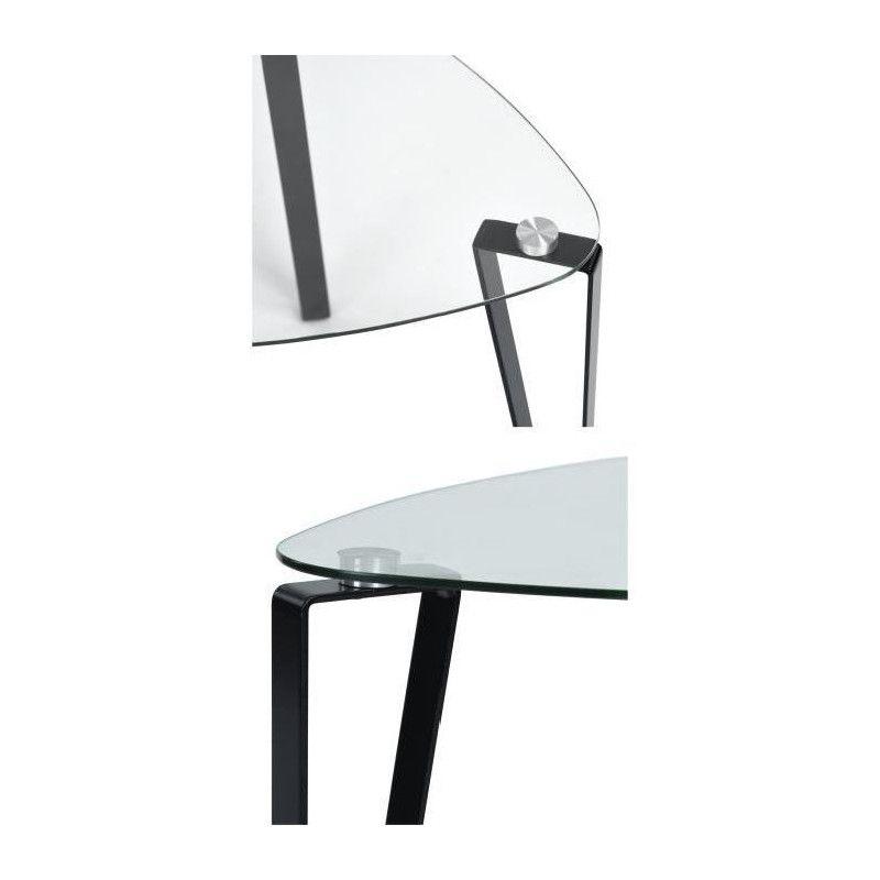 Kauwhata table basse style contemporain en m tal peint for Table basse verre trempe noir