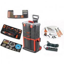 TOOD Servante roulante 2 tiroirs L 46 x P 33 x H 74 cm avec outils et accessoires