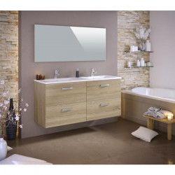 STELLA Ensemble salle de bain double vasque L 140 cm avec miroir - Décor chene