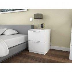 BILLUND Chevet 2 tiroirs 40cm blanc