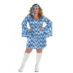 AMSCAN Costume Femme Disco Blue - Taille Plus XXL