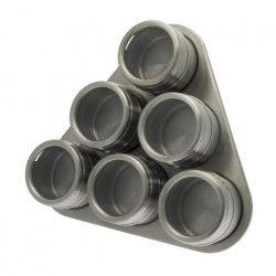 FRANDIS Porte épices + 6 boîtes aimantées pour épices - Inox