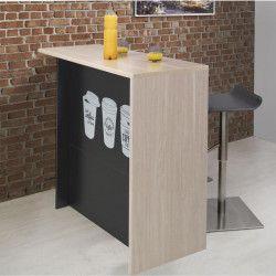 COFFEE Ilot de cuisine avec plan de travail L 120 cm - Décor chene clair et noir