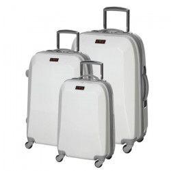 Set de 3 Valises Chariot Rigide Polycarbonate 4 Roues 48-60-70cm CITY620 Blanc