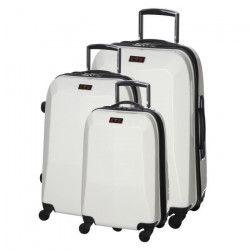 Set de 3 Valises Chariot Rigide Polycarbonate 4 Roues 48-60-70cm CITY632 Blanc Nacré