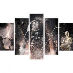 STAR WARS Tableau déco multi panneaux XXL 150x100 cm gris