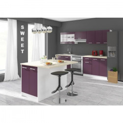 ULTRA Ilot de cuisine L 100cm avec plan de travail inclus - Aubergine mat