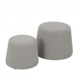 CLIFF Lot de 2 poufs en velours - GM 48x48x36cm et PM 37x37x31cm - Gris