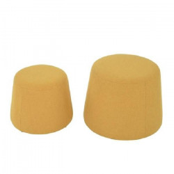 CLIFF Lot de 2 poufs en velours - GM 48x48x36cm et PM 37x37x31cm - Jaune