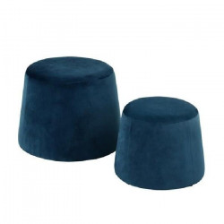 CLIFF Lot de 2 poufs en velours - GM 48x48x36cm et PM 37x37x31cm - Bleu