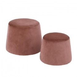 CLIFF Lot de 2 poufs en velours - GM 48x48x36cm et PM 37x37x31cm -Rose