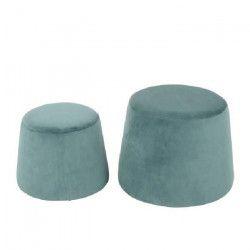 CLIFF Lot de 2 poufs en velours - GM 48x48x36cm et PM 37x37x31cm - Aqua vert