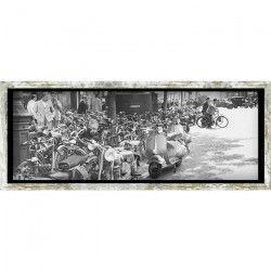 Tableau déco cadre vitrine 20x50 - Vespa retro noir et blanc