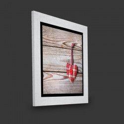Tableau déco encadré Valencia 29x29 - Coeur vichy sur bois