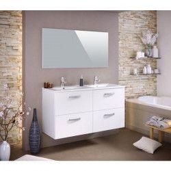 STELLA Ensemble salle de bain double vasque L 120 cm avec miroir - Blanc mat