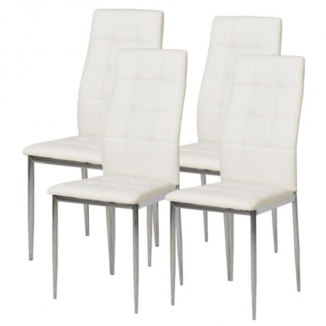 Deborah Lot De 4 Chaises De Salle A Manger Pieds Metal Chrome Revetement Simili Pu Blanc Style Contemporain