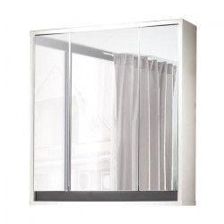 SOL Armoire de toilette L 67 cm - Blanc mat et gris